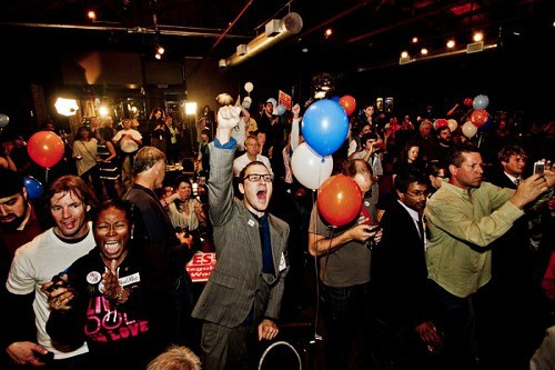 Amendment 64 supporters celebrate on election night.