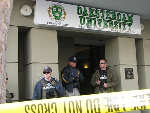 Armed federal agents seize textbooks as mass murder unfolds across town in Oakland April 2.
