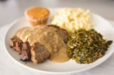 CHRIS DUFFEY - Berlyn's meatloaf includes pork belly scraps and is seasoned with carmelized onions and sherry.