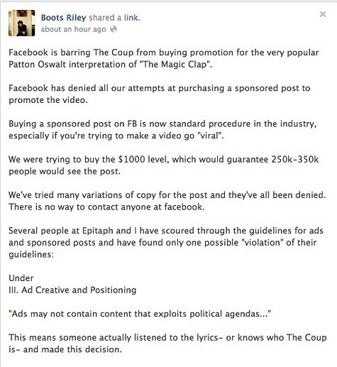 Boots Riley rants about Facebook — on Facebook.
