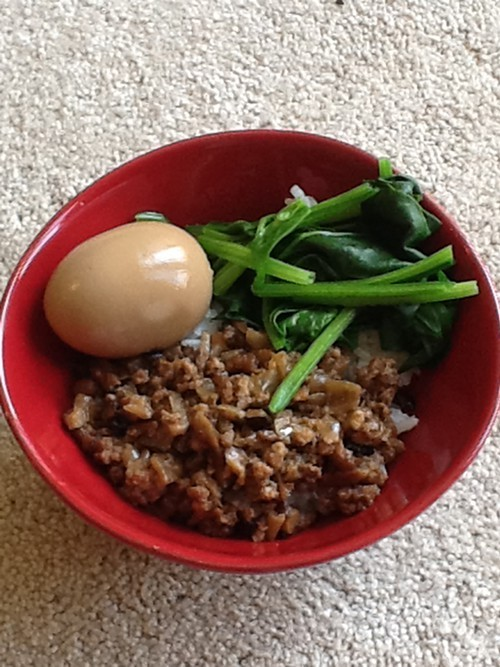 Braised pork over rice.