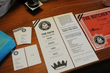 Butchers Guild cards and brochure.