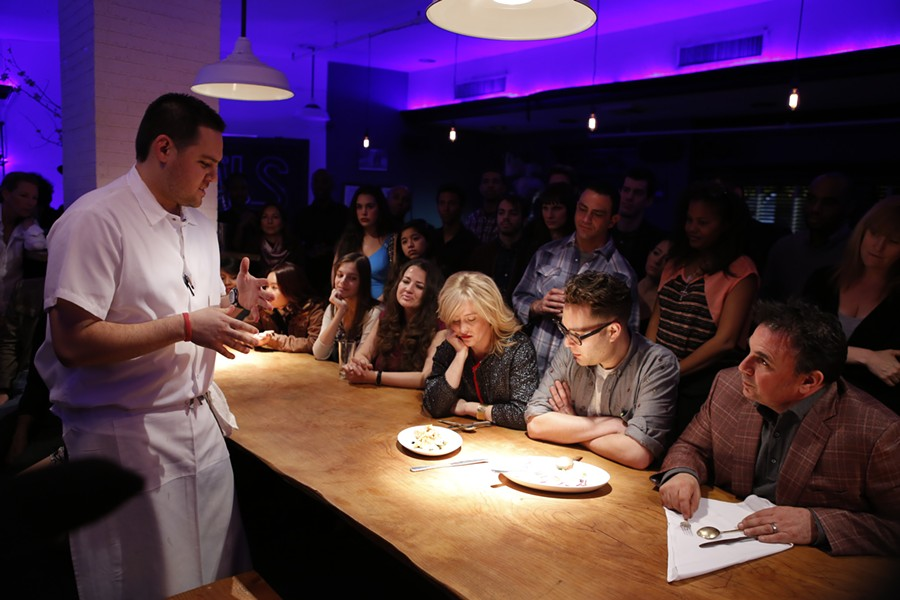 Chef Kyle Itani (left) presents a dish to the judges. - ESQUIRE TV