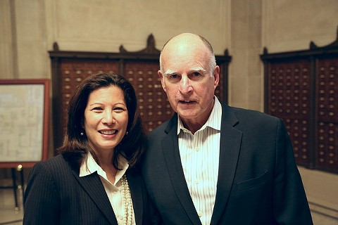California Chief Justice Tani Cantil-Sakauye and Governor Jerry Brown. - CALIFORNIA COURTS