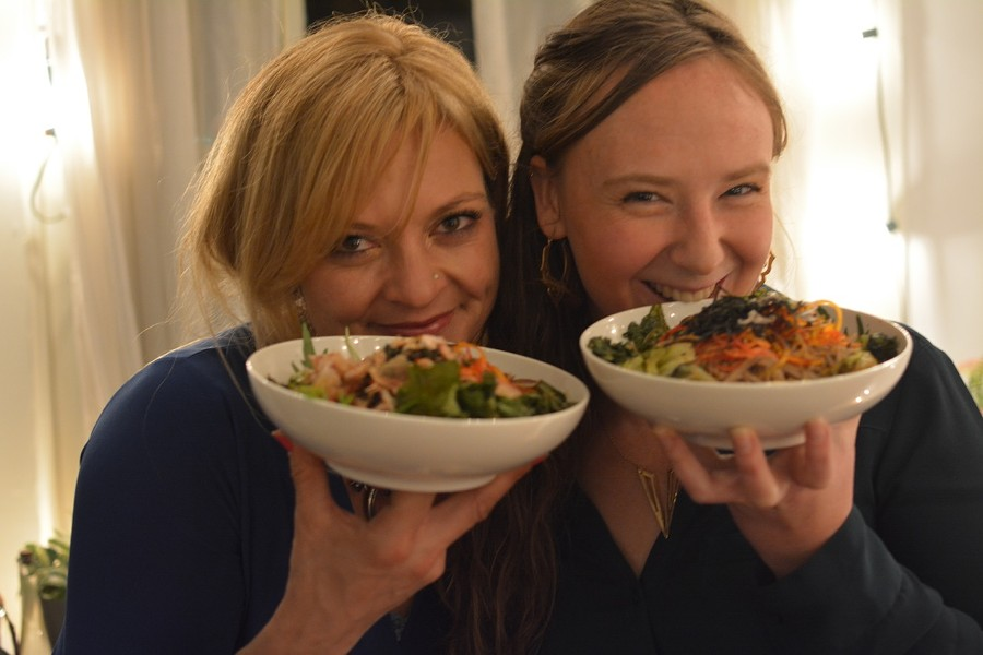 Simone (left) and Anderson show off their soba — a possible menu item. - NICHOLAS R. CHEN