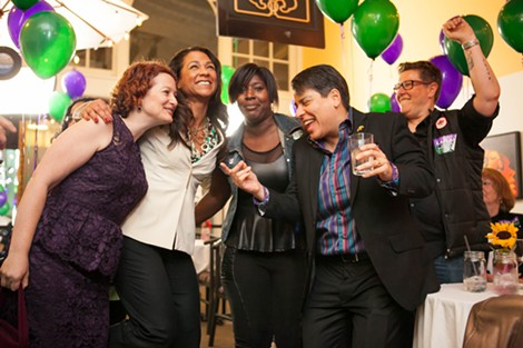 Council member Kaplan dances with her campaign staff and friends. - BERT JOHNSON