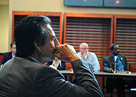 Councilmember Noel Gallo watches todays JPA meeting.