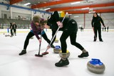 """BERT JOHNSON - Curling, played at the Oakland Ice Center, is also known as """"chess on ice."""""""