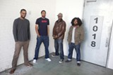 ZONEIL MAHARAJ - Damon Bell, Armon Bazile (aka Aybee), Eddie Patrick Smith (aka Edd Dee Pee) of Blaktroniks, and Eric Porter (aka Afrikan Sciences) outside of Bell's Oakland loft.