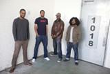 ZONEIL MAHARAJ - Damon Bell, Armon Bazile (aka Aybee), Eddie Patrick Smith (aka Edd Dee Pee) of Blaktroniks, and Eric Porter (aka Afrikan Sciences) outside of Bell's Oakland loft.