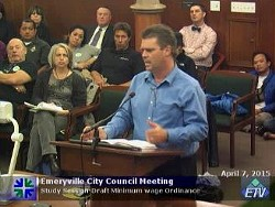 Denny's regional manager William Woods speaking to the Emeryville City Council.