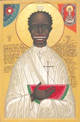 """Detail of Mark Dukes' """"Holy Face of St. Sambo."""""""