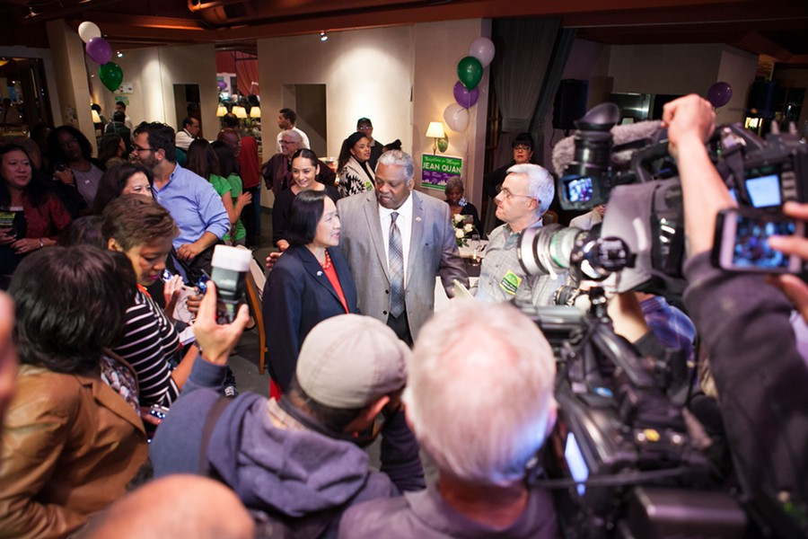 Earlier in the evening, however, incumbent Jean Quan hosted her own party. The mood was positive and celebratory even as the early results came in. - BERT JOHNSON