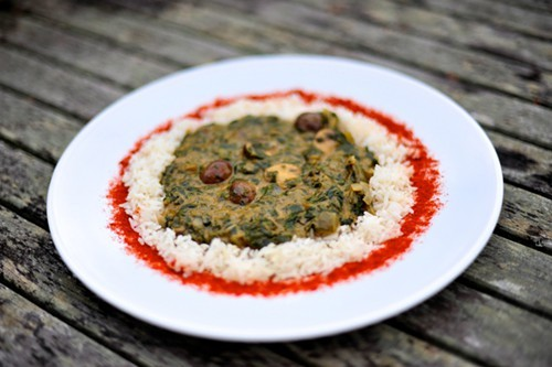 Easy Creoles spinach and mushroom etouffee.