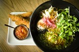 CHRIS DUFFEY - Fried chicken ramen with a simple shio and a side of chicken tenders.