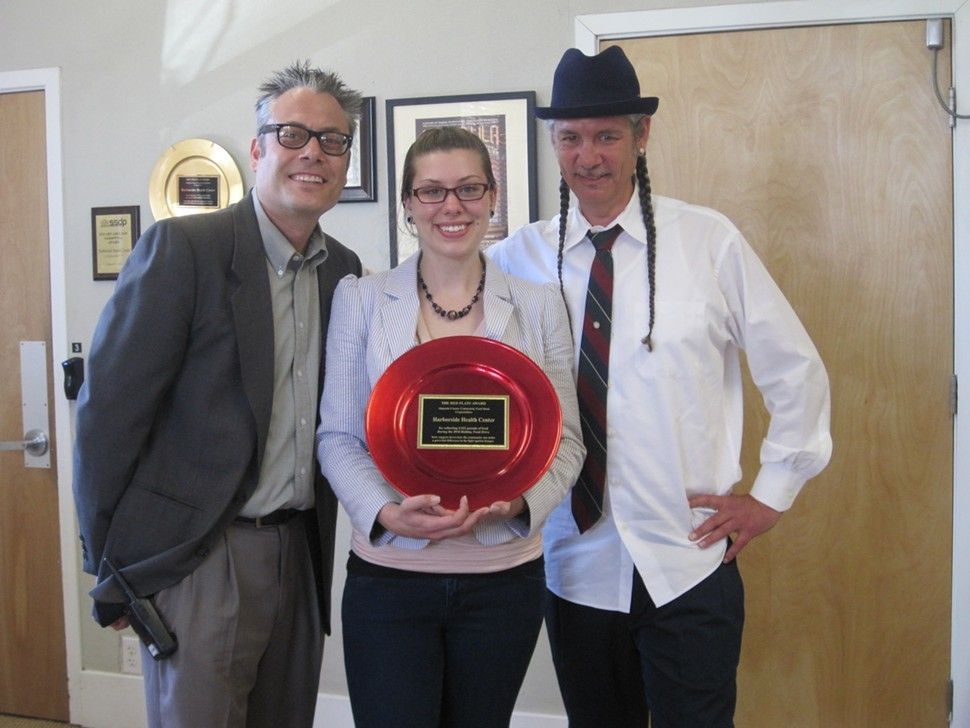 From Left to Right:  General Manager Andrew DeAngelo, (FYI: Steve's brother) - Ombuds/Reception Manager Jennifer Thompson, and Executive Director Steve DeAngelo with Alameda County Food Banks highest award:  The Red Plate.