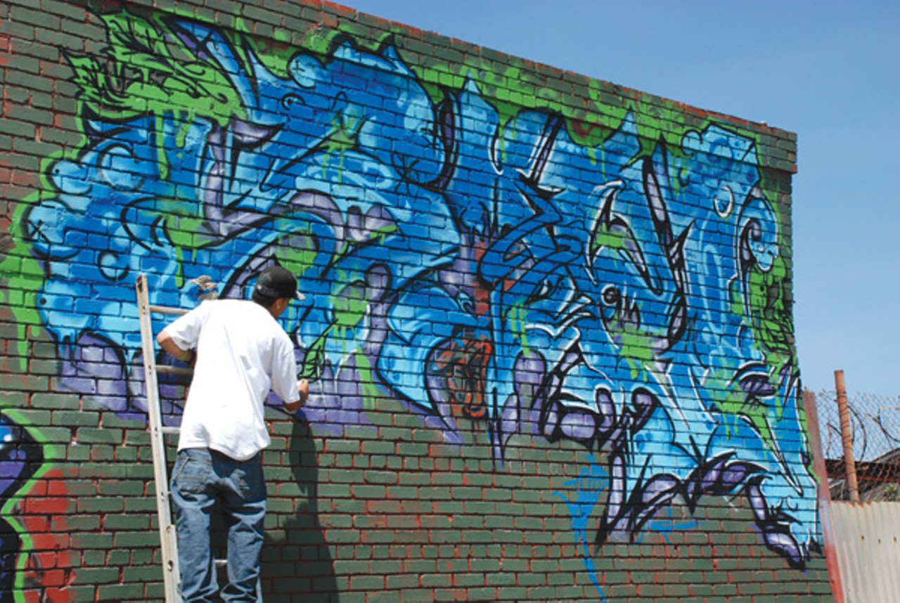 painting a mural is no longer a crime east bay express click to enlarge scott j morris gompers high school students in richmond are repainting their mural