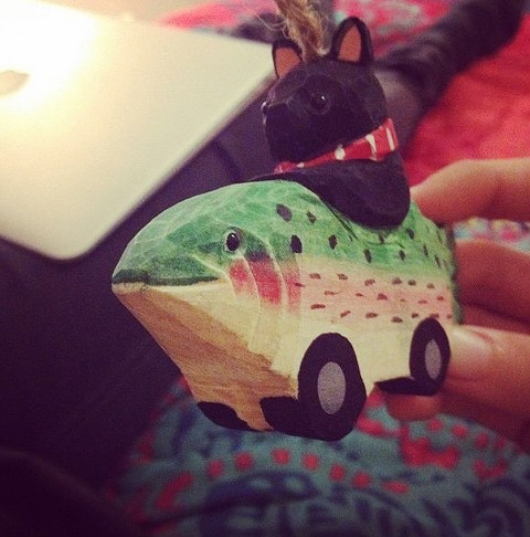 I indeed bought this cat-driving-a-trout-car holiday ornament from World Market. - ANNA PULLEY