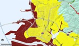 In this map of the Emeryville and West Oakland coast, the dark areas will be underwater by 2079.
