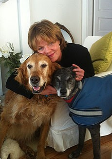 Janet Riordan lost her 7-year-old dog, Reggie (left), to lymphoma, the same disease that killed her father.