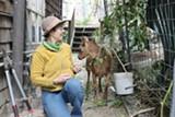 LUKE TSAI - Jeannie McKenzie and one of her goats.