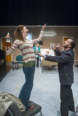 DAVID ALLEN - Jessica Bates and Nicholas Pelczar take sibling rivalry to new heights in this dysfunctional family drama.