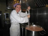 Jessica Prentice cooks up a vat of soup at Three Stone Hearth.