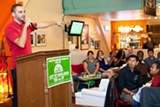 BERT JOHNSON - Josh Healey addresses supporters of Measure FF in Oakland during a recent fundraiser.