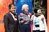 Koreatown Northgate Community Benefit District board members Keun Bae Yoo, Linnea Graff, and Suk Hee Yoo at the recent unveiling of the neighborhood's new banners.