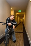 Larissa Campaa learned to ride in the Woodfin Suites      parking lot.