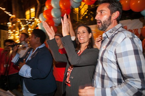 Libby Schaaf addresses supporters at her campaign headquarters in Oakland's Grand Lake district. - BERT JOHNSON