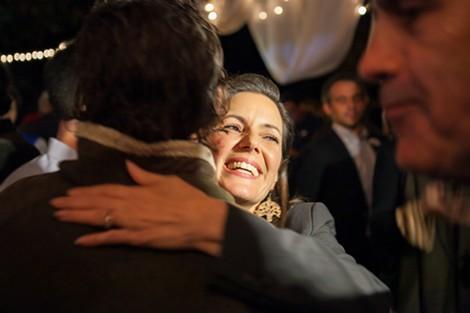 Libby Schaaf greets a campaign volunteer. - BERT JOHNSON