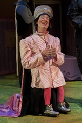 KEN LEVIN - Lord Farquaad (played by Clay David) is the play's real showstopper.