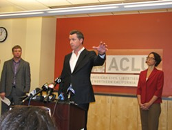 Gavin Newsom speaks during the 2013 launch of the ACLU's Blue Ribbon Commission. - DAVID DOWNS