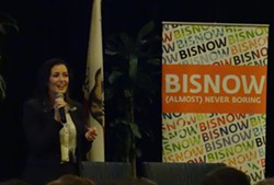 Oakland Mayor Libby Schaaf speaking at the Bisnow real estate development conference in Oakland on May 20, 2015. - DARWIN BONDGRAHAM