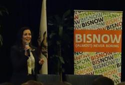 Oakland Mayor Libby Schaaf speaking at the Bisnow real estate development conference in Oakland on May 20, 2015. - DARWIN BONDGRAHAM