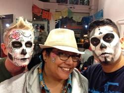 Tina Tamale herself (center), at La Snackeria (via Facebook).