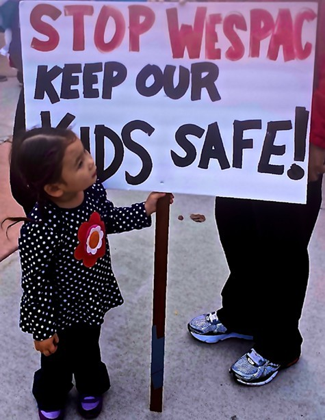 Much of Saturdays protest focused on the need to protect East Bay children.
