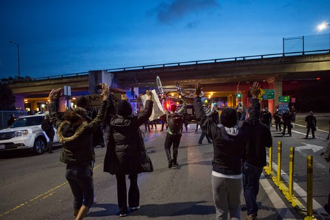 Demonstrators attempt to gain access to I-980 near Jack London Square.