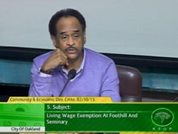 Councilmember Larry Reid at the Oakland Community and Economic Development Committee meeting last month.