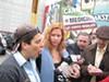 Oakland City Councilwoman Rebecca Kaplan and Oaksterdam Executive Chancellor Dale Jones talk to the media.