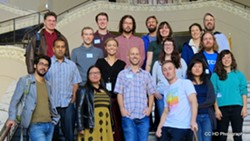 The OpenCalifornia team in Oakland City Hall. - COURTESY OF HOWARD DYCKOFF.