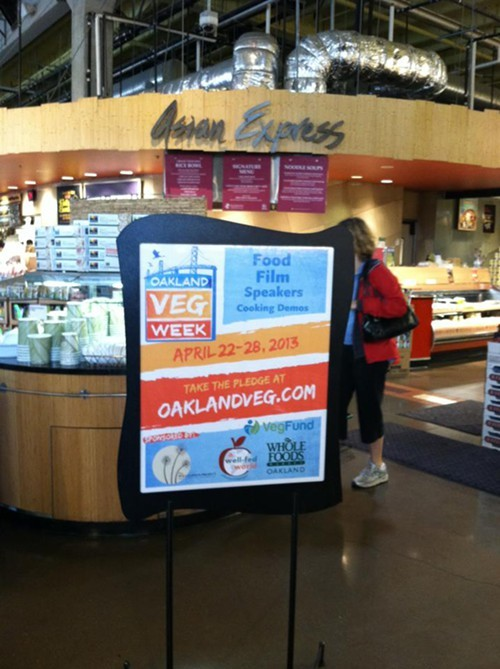 Oakland Veg Week is partnering with the Oakland Whole Foods for several events (via Facebook).