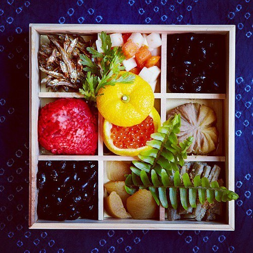 One layer of Peko Pekos beautiful New Years bento box (via Facebook).