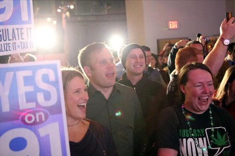 Oregon reformers celebrate becoming the third state in the U.S. to end the war on cannabis. - YES ON 91 (VIA FACEBOOK)