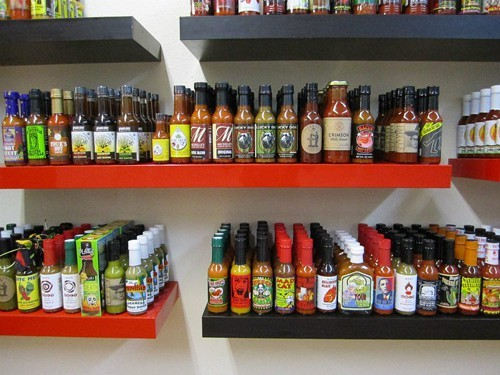 Part of the selection at Heat Hot Sauce Shop (via Facebook).