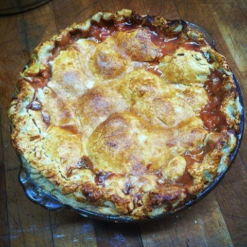 Peach, nutmeg, and velvet falernum pie (via Facebook).