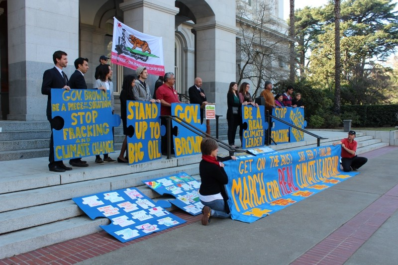 "Photo of press conference by Californians Against Fracking at the State Capitol on January 28 by Dan Bacher. On February 7 thousands of Californians will converge in Oakland – Brown's home town – for the ""March for Real Climate Leadership."" For more information, go to:http://marchforclimateleadership.org"
