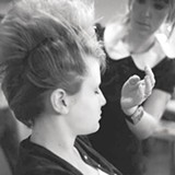 Primping at last year's fashion show.