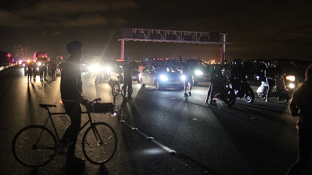 Protesters shut down I-80 on Monday night. - JOAQUIN PALOMINO